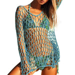 Women Sexy Crochet Beach Cover Up Fishnet Sarong Wrap Bikini Handmade Smock