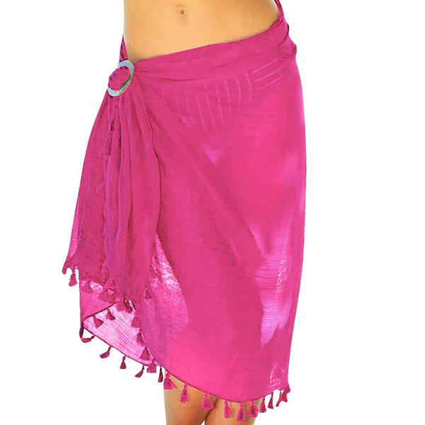 Women's Chiffon Beach Cover up Sarong Multi Wear Tassels Swim Skirt
