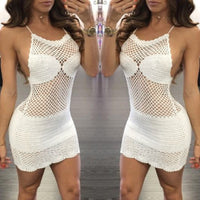 Sexy Women Crochet Beach Fishnet Sarong Handmade Bodycon Knitting Mini Dress
