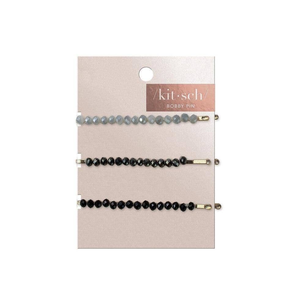 Beaded Metal Bobby Pins - Black with Gray