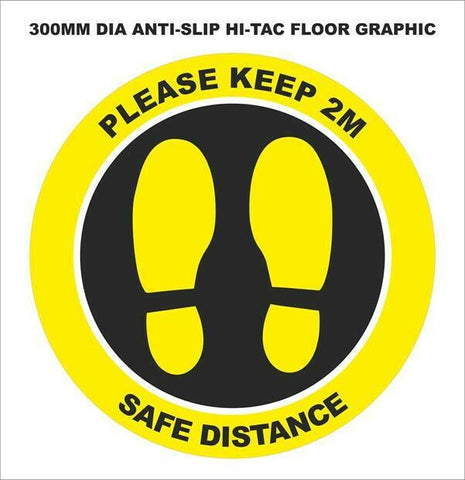 Pack of 10 Please Keep 2M, Safe Distance - Anti Slip Floor Graphic