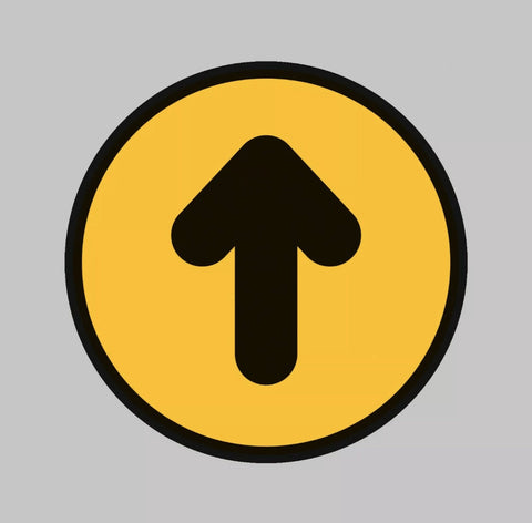 Pack of 10 Yellow / Black Arrow, Social Distance Sign - Laminated Floor Sticker