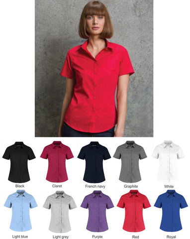 Womens Poplin Shirt - Short Sleeve (KK241)