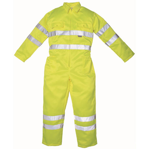 YK011 Hi-vis polycotton coverall (HV058) Yellow - SALE (Last ones)