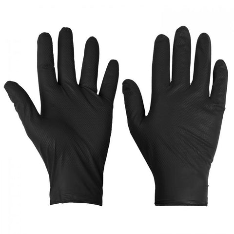 100 Disposable Powderfree Nitrile Diamond Grip Gloves