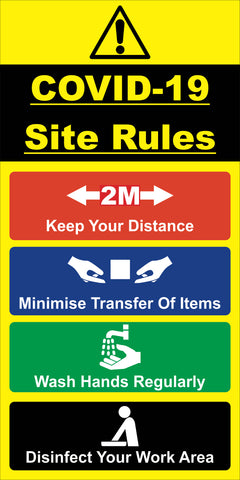 COVID-19 Safety Site Rules Sign - rigid board