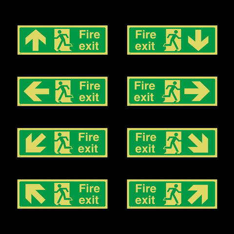 Photoluminescent Fire Exit Sign - Plastic - All Direction Arrows