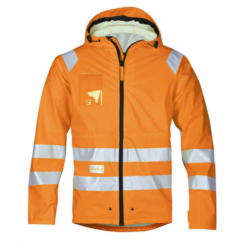Snickers 8233 High-Vis PU Rain Jacket, Class 3 Orange - SALE (Large Only)
