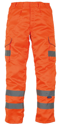 YK073 Hi-vis polycotton cargo trousers with knee pad pockets (HV018T/3M)