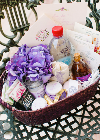 KK Harris Richmond, VA #RVA wedding welcome basket as featured in Martha Stewart Weddings Summer 2015 print issue, photography by Katie Stoops