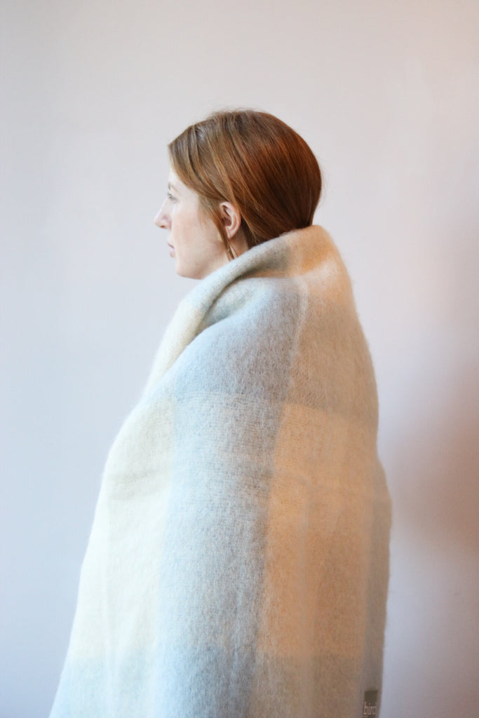 Blue & Cream Plaid Irish Mohair Throw