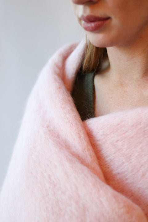 Pink Irish Mohair Throw