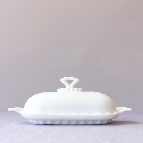 Milk Glass Heirloom Butter Dish
