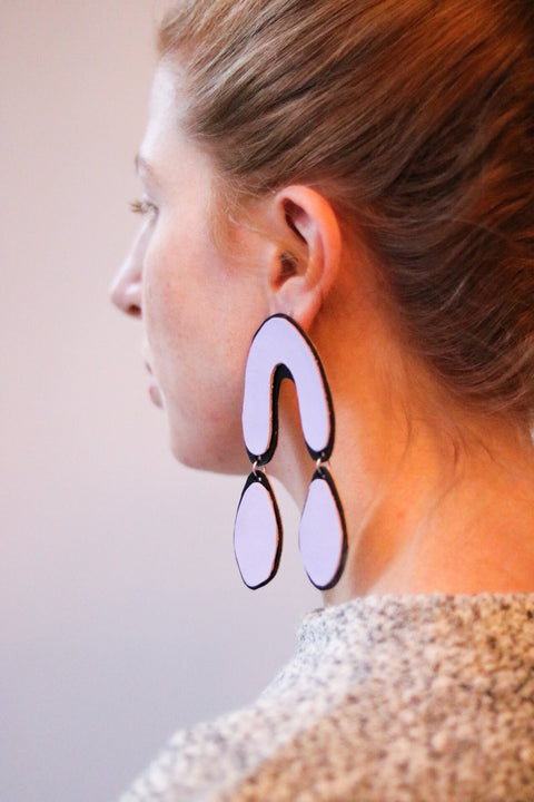 Lilac Drop Leather Earrings
