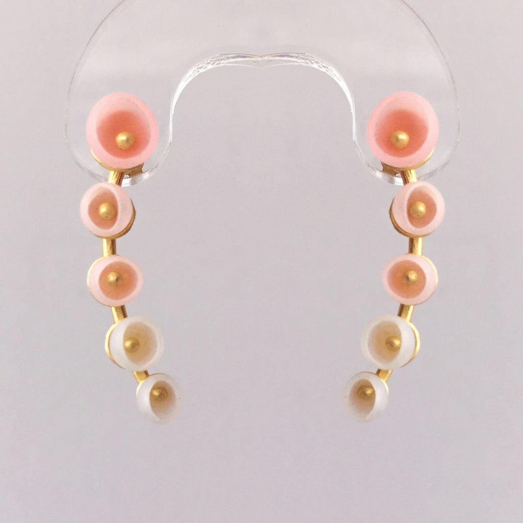 Jenny Llewellyn Pink Silicone and Vermeil Half Round Earrings