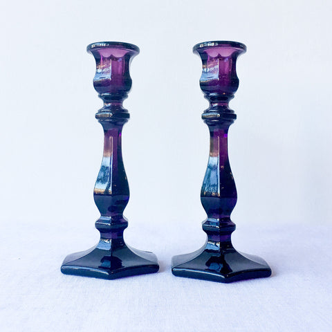 "7.5"" Amethyst Heirloom Candlesticks"