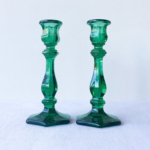 "7.5"" Hunter Green Heirloom Candlesticks"
