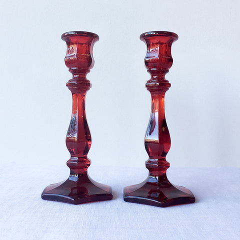 "7.5"" Red Heirloom Candlesticks"