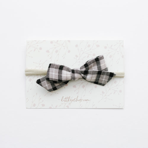 Schoolgirl Bow in Black Plaid
