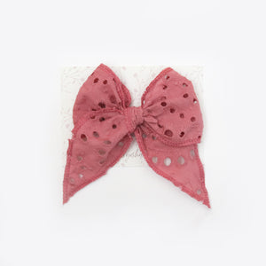 Fable Bow in Pink Embroidered Eyelet
