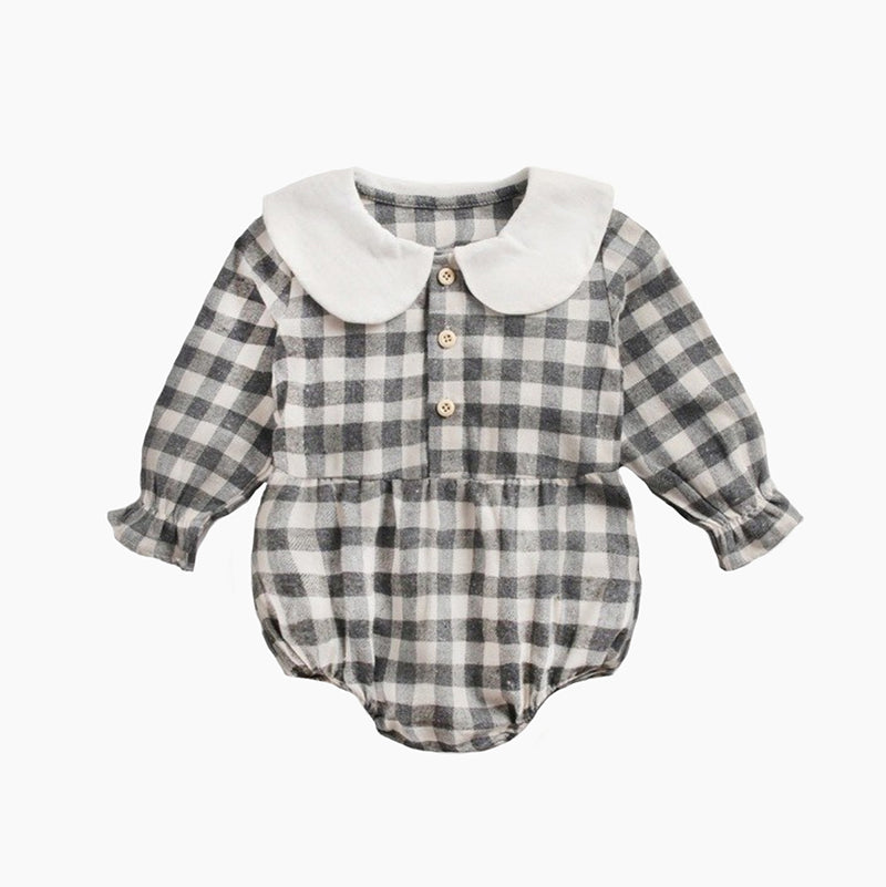 Little girls fall/winter checkered/plaid onsie/romper
