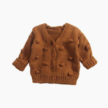 Toddler, little girl rust pom pom sweater cardigan
