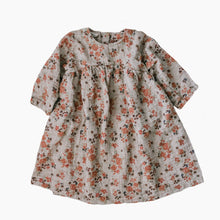 long sleeved, knee-length little girls floral dress
