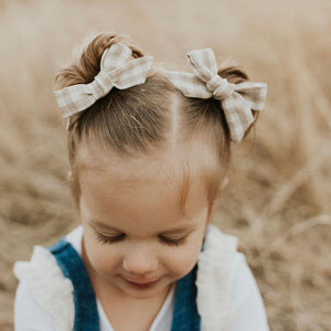 Schoolgirl Bow in Neutral Plaid