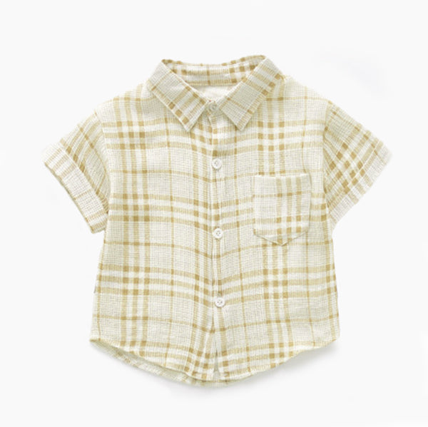 Little boys yellow plaid button down, collared shirt