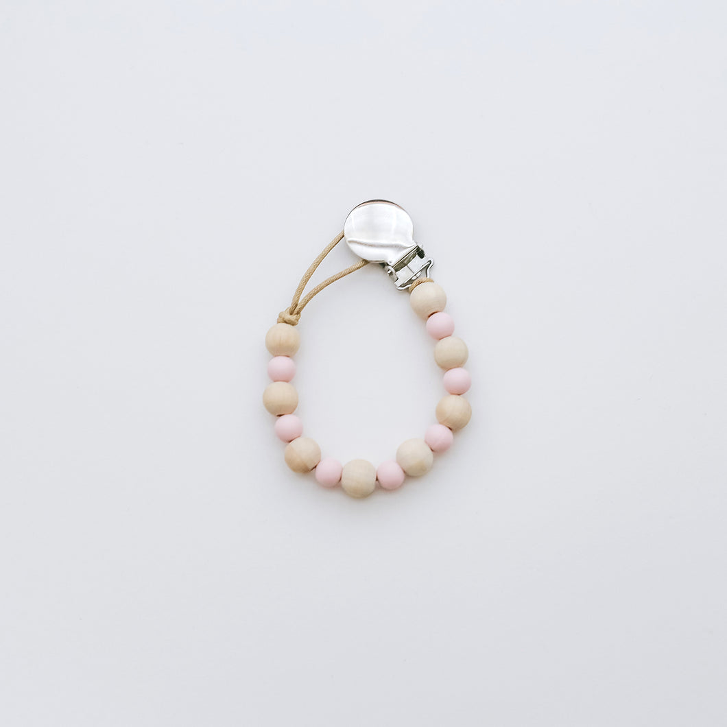 Teething Pacifier Clip in Ballet Pink