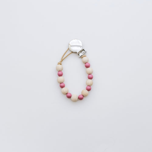 Teething Pacifier Clip in Mauve