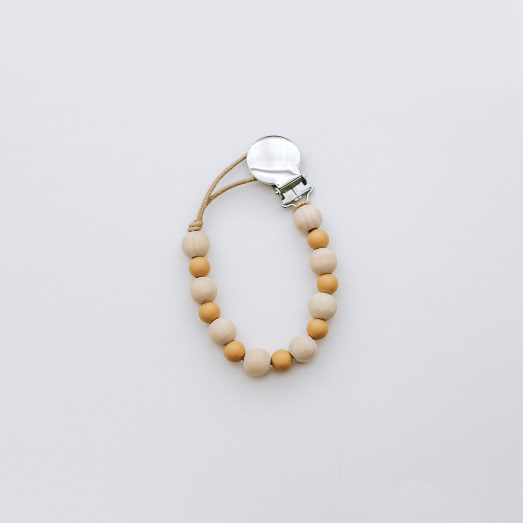 Teething Pacifier Clip in Mustard