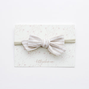 Schoolgirl Bow in Neutral Stripes
