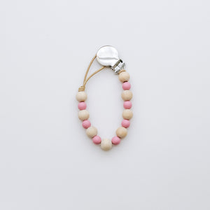 Teething Pacifier Clip in Pink
