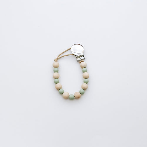 Teething Pacifier Clip in Sage