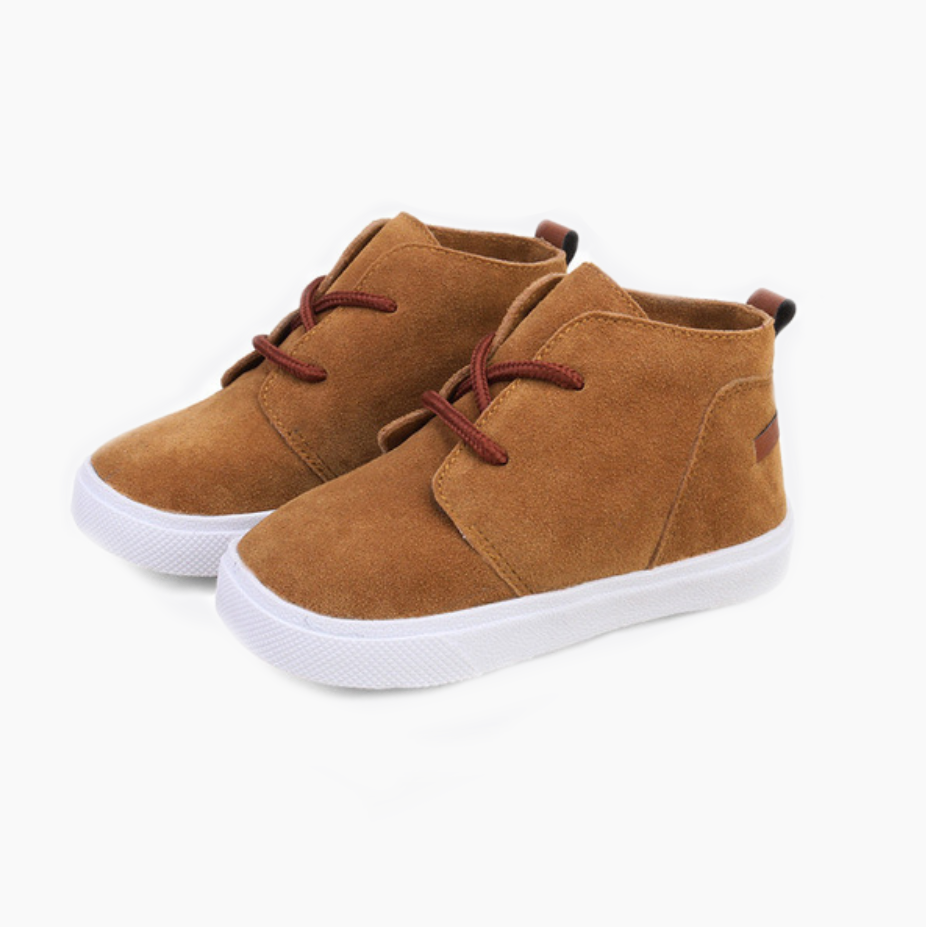 Tan suede little boys sneakers
