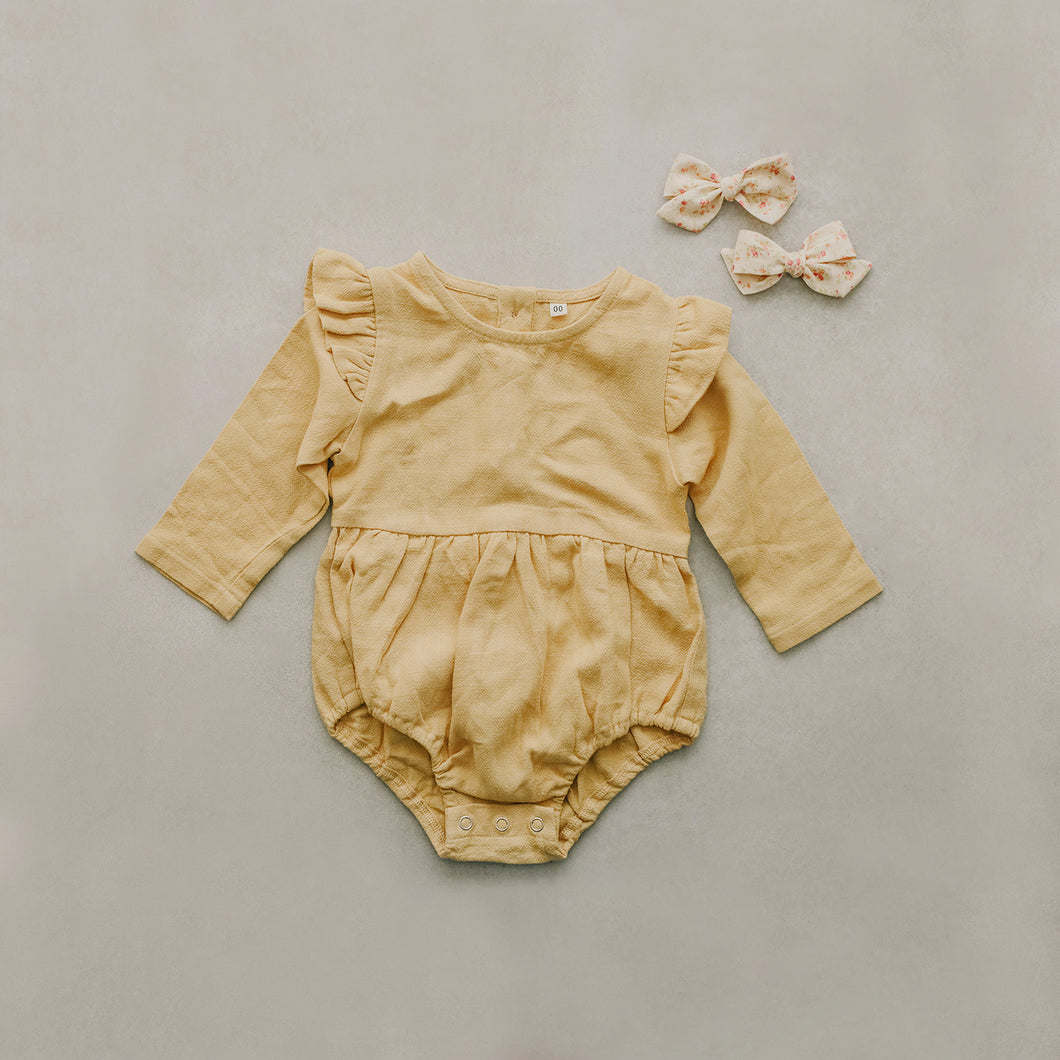 light yellow romper/onsie for little girls