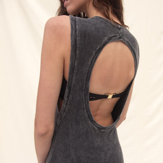 Backless Cotton Rib Dress