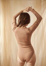 Barbarella Cotton Ribbed Bodysuit in Copper  ONLINE EXCLUSIVE