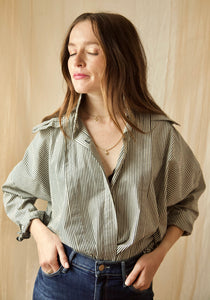 Catherine Pop-Up Poplin Collar Shirt in Navy & Copper Stripes