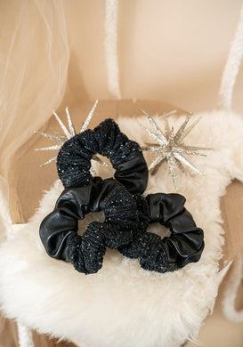 Zero-Waste Industry Leather & Recycled Boucle Scrunchie