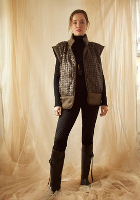McKenna Italian Puff Vest in Military