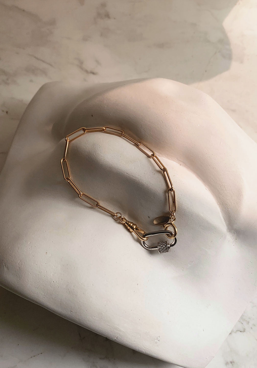 Cadaques 18K Gold Paperclip & Vintage Swivel