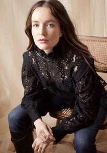 Camilla Smocked Lace Shirt in Black