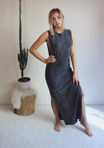 Jenna Midi Cotton Rib Slit Dress ONLINE EXCLUSIVE