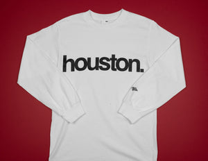 houston. mens l/s tee (white/black)
