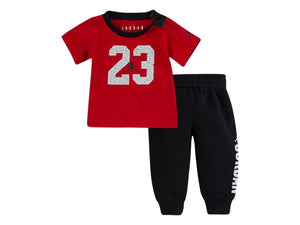 Load image into Gallery viewer, kids jordan wing pin tee and jogger set (red/black)