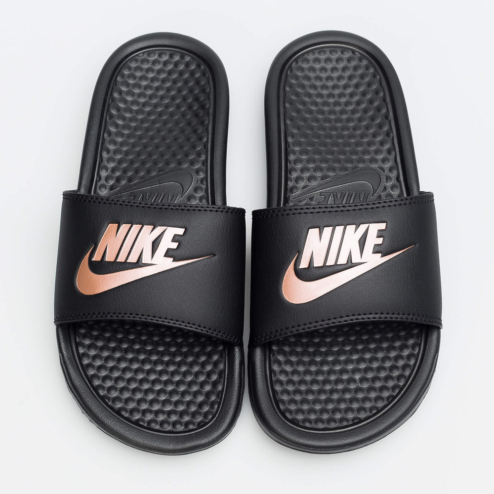 nike womens benassi jdi (black/rose gold)