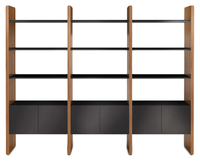 Natural Walnut / Black | BDI Semblance Shelving