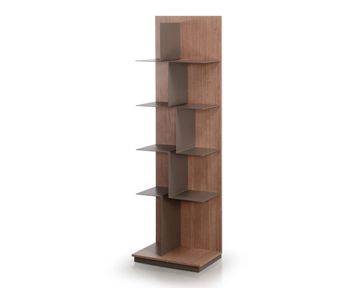 Taupe and Cashmere Walnut | Trica Maze Shelving Unit
